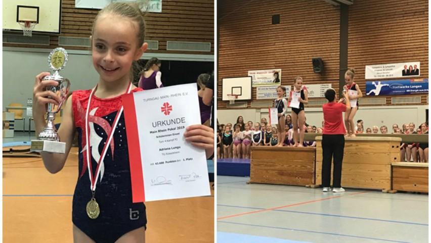 Foto: O fetiță moldoveancă stabilită în Germania a obținut locul I la Turneul de gimnastică