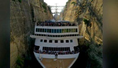 Video uimitor! Un vas de croazieră lat de 22,5 metri a trecut prin Canalul Corint, care are doar 25 de metri lățime!