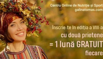 """Află cum poți beneficia de o lună gratuită în noua ediție a proiectului """"Galina Tomaș îți cumpără kg"""""""