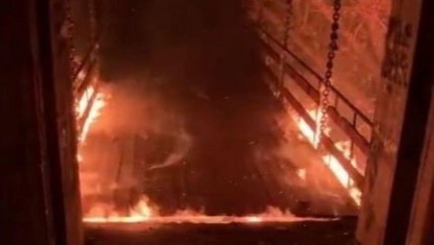 """Foto: """"Podul îndrăgostiților"""" din parcul Valea Trandafirilor nu mai este funcțional. A ars, spun pompierii"""