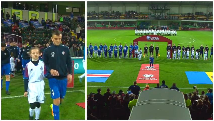 Foto: Copiii cu sindromul Down, alături de fotbaliștii din Moldova și Islanda, la deschiderea meciului pe stadionul Zimbru