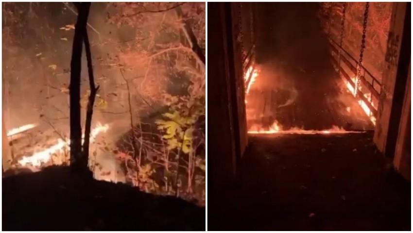 """Foto: Incendiu. În parcul Valea Trandafirilor, arde ,,Podul îndrăgostiților"""""""