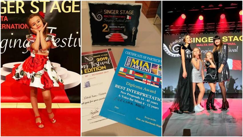 """Foto: La doar 7 anișori, Evelina Rusu a obținut locul II la concursul internațional de muzică ,,Singer Stage"""" din Malta"""