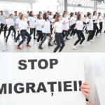 """Foto: Tinerii de la Universitatea de Medicină au încins un dans la Gara Feroviară pentru a spune ,,Stop Migrației""""! Video"""