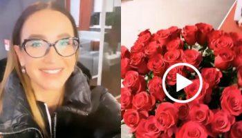 Olga Buzova, întâmpinată la Aeroport de către Renato Usatîi. Cu flori, pâine și sare