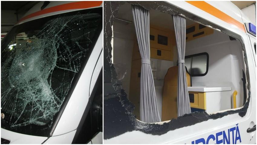 Foto: Caz strigător la cer în Capitală! O ambulanță a fost vandalizată cu o rangă metalică, iar șoferul agresat, în timp ce acorda ajutor unui pacient
