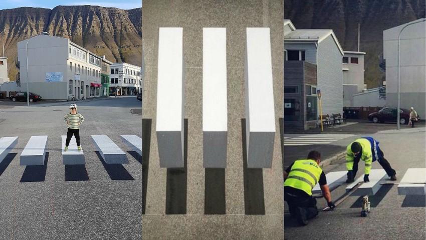 Foto: În Islanda, numărul deceselor rutiere scade simțitor grație trecerilor pietonale de tip 3D