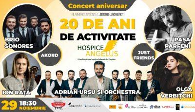 Fundația Hospice Angelus Moldova vă invită la concertul aniversar dedicat celor 20 de ani de activitate!