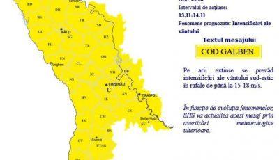 Alertă meteo! Cod galben de vânt, în Moldova