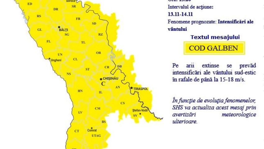 Foto: Alertă meteo! Cod galben de vânt, în Moldova