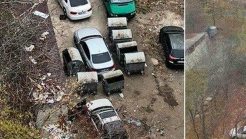 """Foto: Angajații serviciului de salubritate i-au dat ,,o lecție"""" unui șofer care a parcat neregulamentar"""