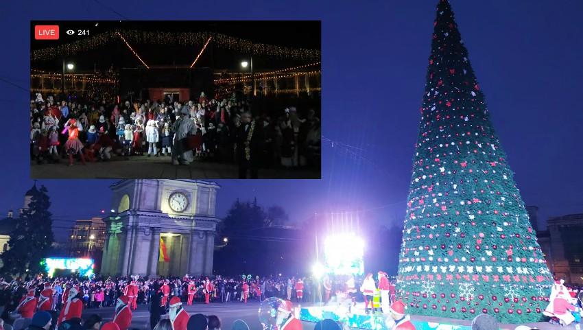 Foto: Video! S-au aprins luminițele de sărbătoare: în PMAN a fost inaugurat Pomul de Crăciun