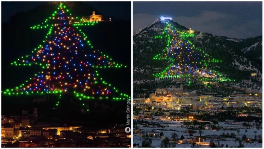 Foto: Spectaculos! În Italia, a fost inaugurat cel mai înalt pom de Crăciun din lume