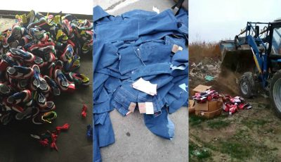 Peste 1.700 de articole vestimentare și încălțăminte importate, au fost distruse de Serviciul Vamal