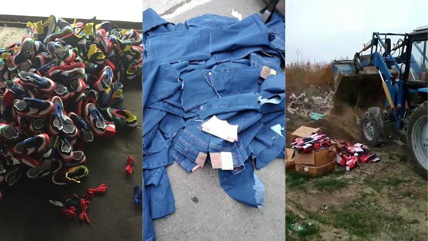 Foto: Peste 1.700 de articole vestimentare și încălțăminte importate, au fost distruse de Serviciul Vamal
