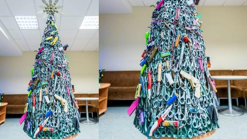 Foto: Un pom de Crăciun cu obiecte confiscate de la pasageri, a fost expus pe aeroportul din Vilnius