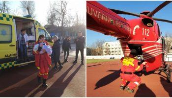 Un nou-născut în vârstă de două zile, a fost transportat din Chișinău la București cu un echipaj Smurd