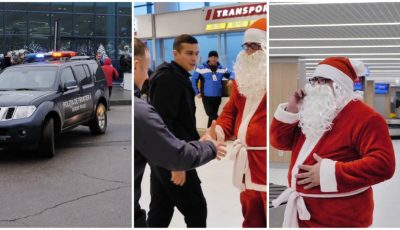 Video! Polițiștii de frontieră l-au ajutat pe Moș Crăciun să ajungă în centrul Capitalei!