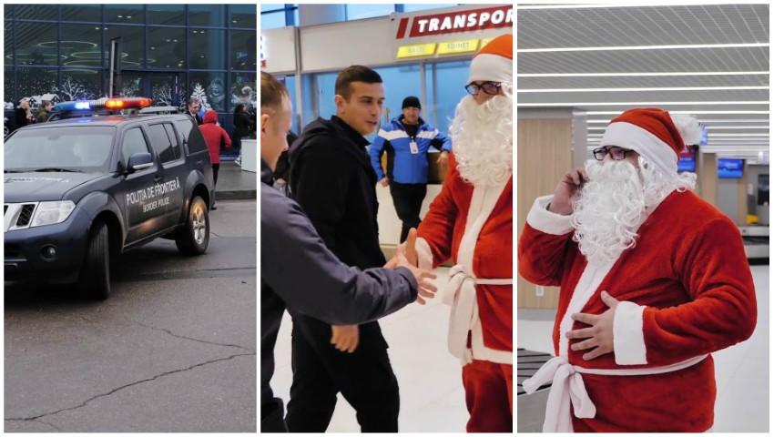 Foto: Video! Polițiștii de frontieră l-au ajutat pe Moș Crăciun să ajungă în centrul Capitalei!