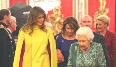 A atras toate privirile. Melania Trump a purtat ținută superbă la recepția oferită de regina Marii Britanii