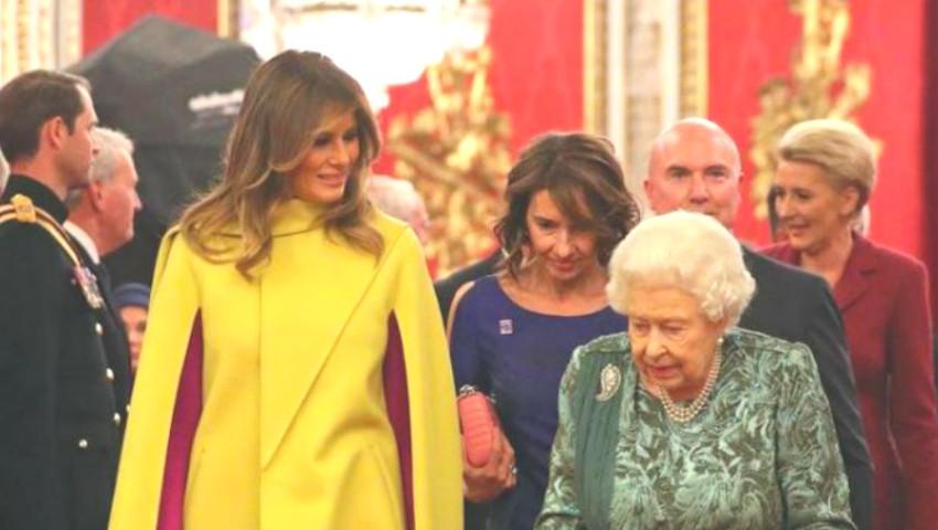 Foto: A atras toate privirile. Melania Trump a purtat ținută superbă la recepția oferită de regina Marii Britanii