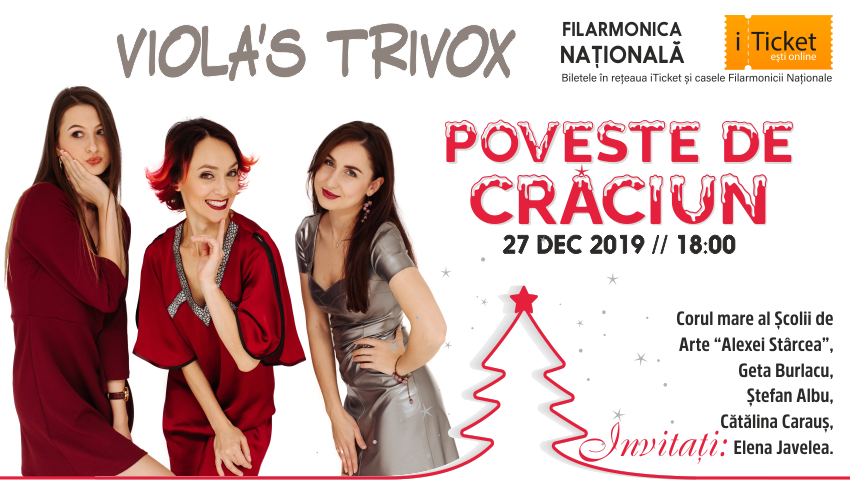 """Foto: Viola's TriVox ne invită la concertul ,,Poveste de Crăciun"""", la Filarmonica Națională din Chișinău!"""