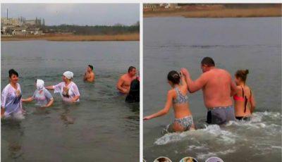 Tradiții de Bobotează la Cahul: o mulțime de oameni s-a scăldat în apa rece ca gheața
