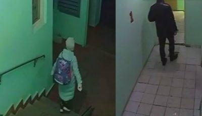 O fetiță este urmărită de un individ, la intrarea în scară. Camerele video au surprins momentul. Ce a urmat?