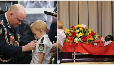 Fiul unui pompier care și-a pierdut viața în incendiile din Australia a primit medalia tatălui său