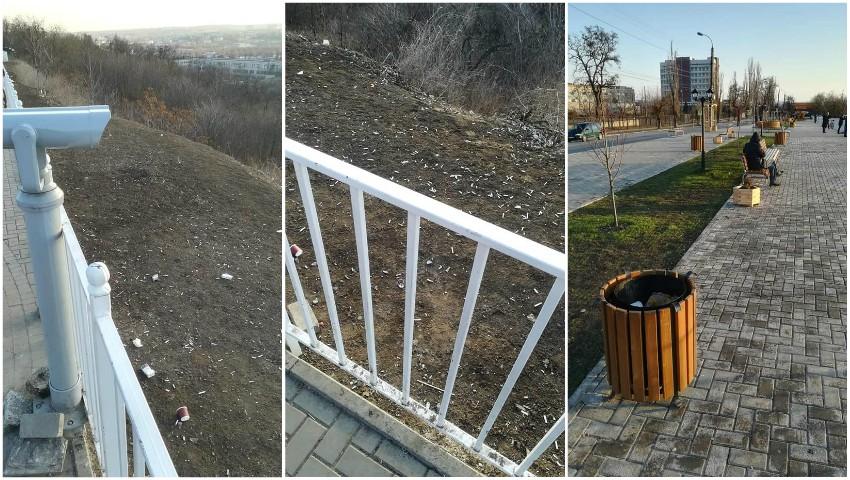 """Foto: Renumitul scuar ,,Maria Drăgan"""" din Capitală, invadat de resturi de țigări aruncate pe jos"""