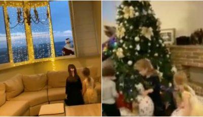 Video. Un tată din Chișinău s-a deghizat în Moș Crăciun și a coborât de pe acoperișul blocului