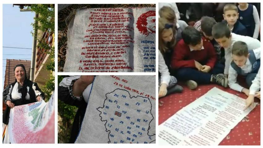 """Foto: O femeie de 73 de ani a scris Luceafărul cu """"ac şi aţă"""" pe 7 metri de pânză. Lucrarea este expusă la Craiova"""