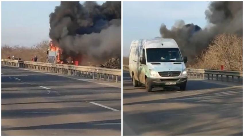 Foto: Video. Incendiu uriaș. Un autobuz cu pasageri a fost cuprins de flăcări, pe traseu la Peresecina