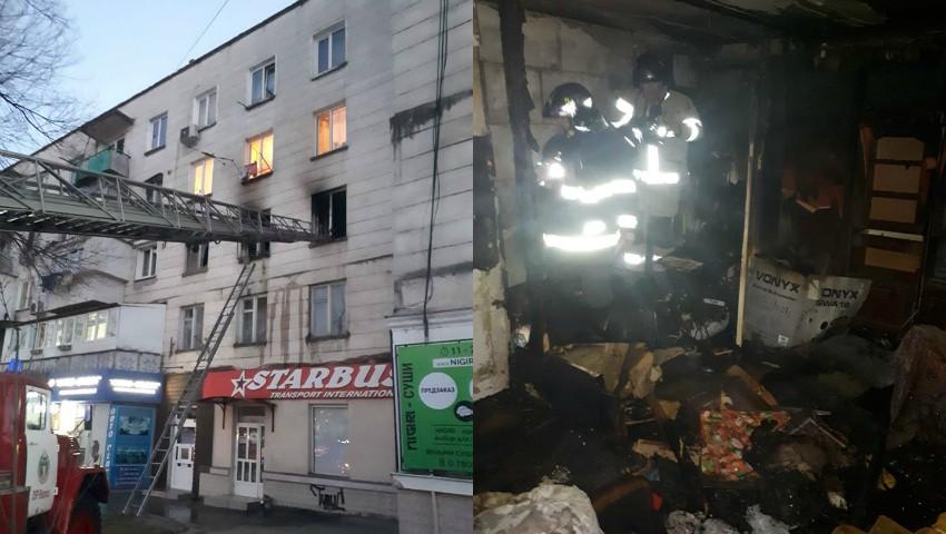 Foto: Incendiu într-un bloc din Chișinău: un mort și trei răniți