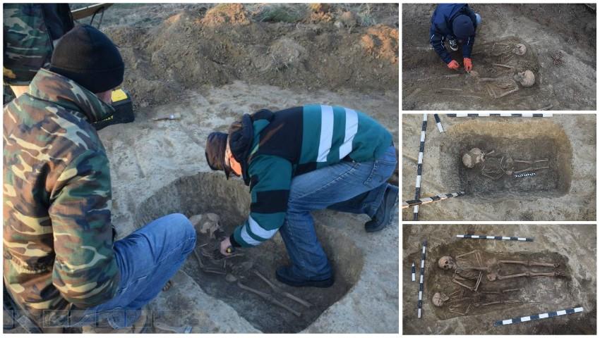 Foto: Morminte de înhumație din Evul Mediu descoperite în raionul Cantemir