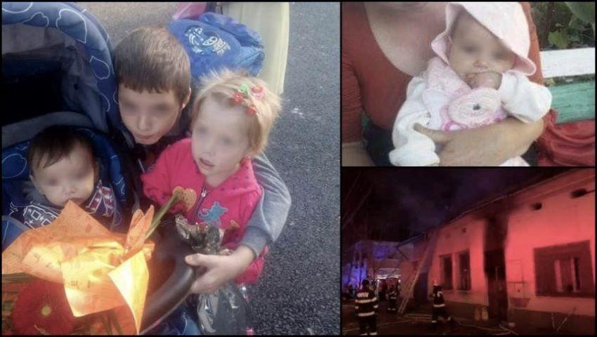 Foto: La Timișoara, patru frăţiori arşi de vii vor fi înmormântaţi împreună. Copiii au fost lăsați singuri acasă