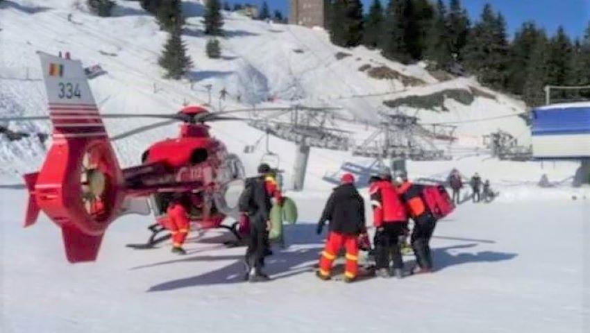 Foto: Un copil de 10 ani a suferit un traumatism la coloană, în vacanța la munte