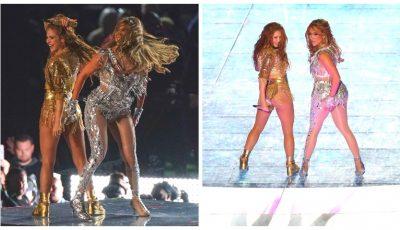 Shakira și Jennifer Lopez au făcut show în finala Super Bowl, liga de fotbal american. Video!