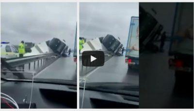 Accident de groază la Criuleni. Un camion s-a răsturnat în mijlocul carosabilului