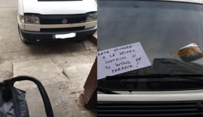 """Un șofer din Capitală s-a ales cu ,,un pampers și un bilețel"""", din partea unei mămici"""