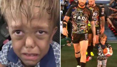 Băiețelul cu nanism care i-a spus mamei că nu mai vrea să trăiască, a condus pe teren echipa de rugby Indigeno