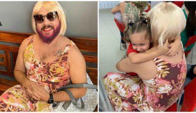 """Un tată s-a îmbrăcat """"ca o mamă"""" pentru serbarea de la grădiniță a fetiței sale. Află care a fost motivul"""