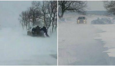 E iarnă adevărată în sudul Moldovei. Mașini blocate în nămeți