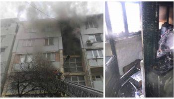 Incendiu puternic în Capitală. Un apartament cu trei camere, făcut scrum
