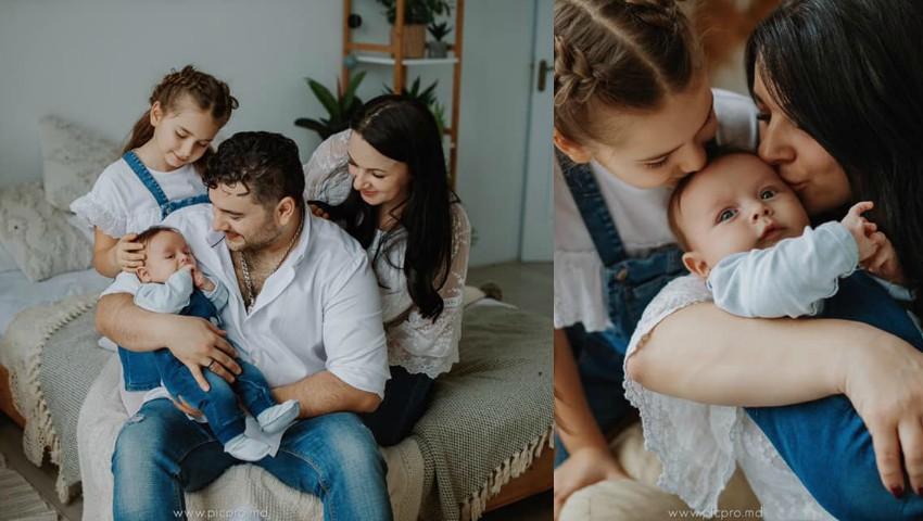 Foto: Valentin Uzun, într-o ședință foto emoționantă alături de soție și copii! Foto