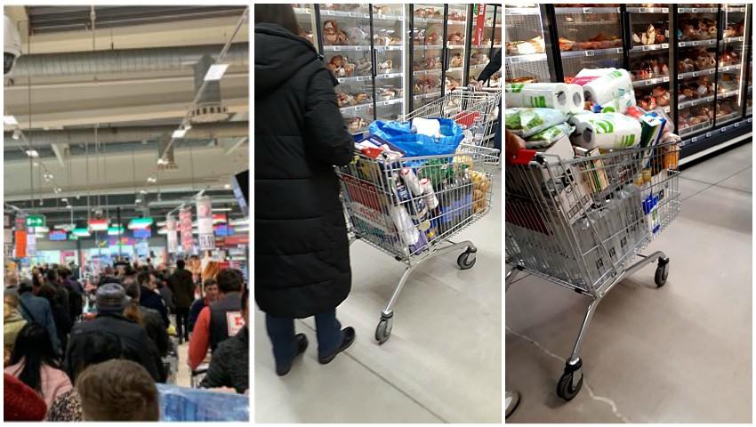 Cozi în supermarketurile din România. Oamenii golesc rafturile magazinelor, de teama coronavirusului