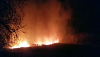 Flăcări uriașe. Un teren de lângă Anenii Noi, cuprins de incendiu care se extinde