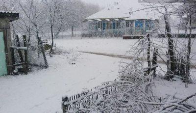 Zăpadă în Moldova. Ninge în mai multe localități. Foto!