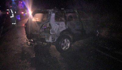 Accident la Strășeni. Un polițist a ars de viu în mașină