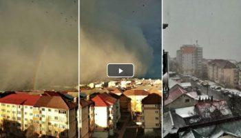 Video! La Suceava s-a format un curcubeu în momentul în care furtuna Ciara a lovit puternic orașul